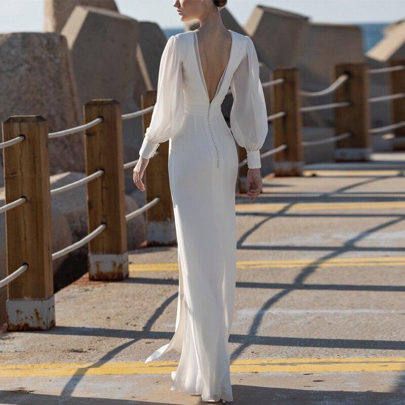 Длинные рукава зимние вечерние платья бодикон белые женские платья с открытой спиной Pacakge бедра платье русалка подол Сплит v образным вырез... - 2