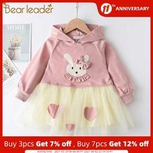 Bear Leader Mesh Kids Dresses for Girls Long Sleeve Children Clothing Cartoon Tutu Girls