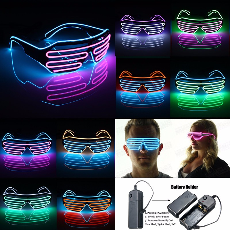 El Wire Neon LED Light Cold-light Glasses Clothing Party Street Dance Performance Props 8 Colors Optional 1PCS
