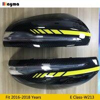 W213 AMG amarillo estilo de fibra de carbono reemplazar cubierta de espejo para Benz Clase E E200 E300 E400 2016-2018 año LHD TAPA DE ESPEJO trasero
