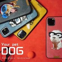 Custodia per ricamo 3D per iPhone 11 12 Pro Max Mini 7 8 6 6S Plus XR X XS MAX Cartoon animali domestici coppia Cover carino