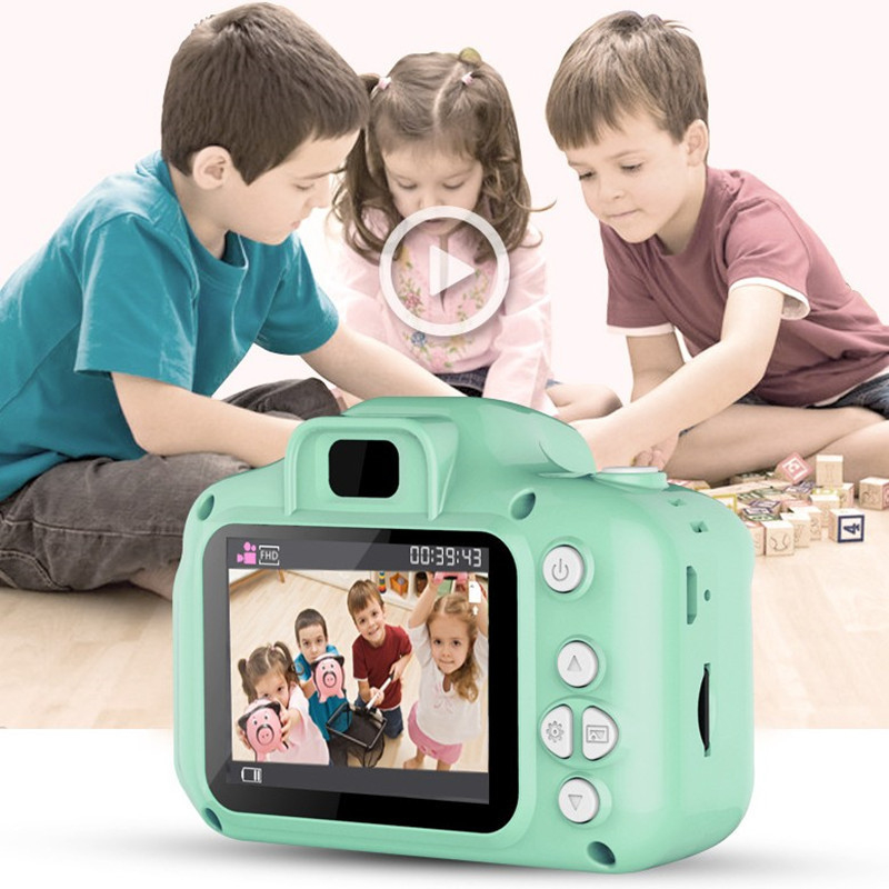 Closeout DealsReal Mini Camera Kids Toys Cartoon 2 Inch HD Screen Digital Cameras Video Recorder Camcorder Language Switching Timed Shooting