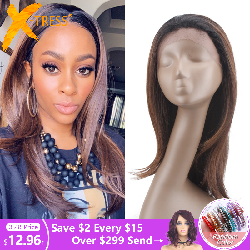 Soft Straight Synthetic Lace Front Wigs With Short Baby Hair X-TRESS Ombre Brown Color Trendy Lace Wig Free Part For Black Women