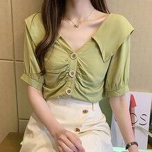 Рубашка с v образным вырезом на пуговицах женская одежда новинка