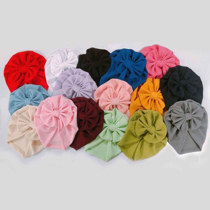 2020 Barang Bayi Aksesoris Bayi Perempuan Topi dengan Busur Simpul Bayi Beanie Ikatan Simpul Besar Solid Topi untuk Perempuan Topi