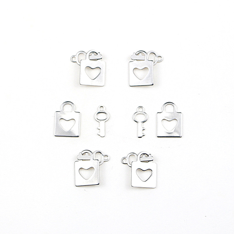 20pcs Stainless Steel Lock/key Shape Charms Pendant Man Women Fashion DIY Necklace/earring Jewelry Making Accessories Wholesale