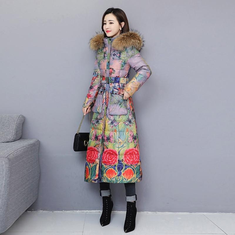Print Long Jacket Women Down Coat 2019 New Winter Warm Coats Female Parkas Fur Collar Hooded Slim Down Jacket Overcoat WM108