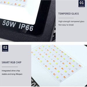 Image 4 - RGB LED フラッドライト防水 100 ワット 50 ワット 30 ワット 220V 230V カラフルなリモコン屋外壁ランプ庭プロジェクター