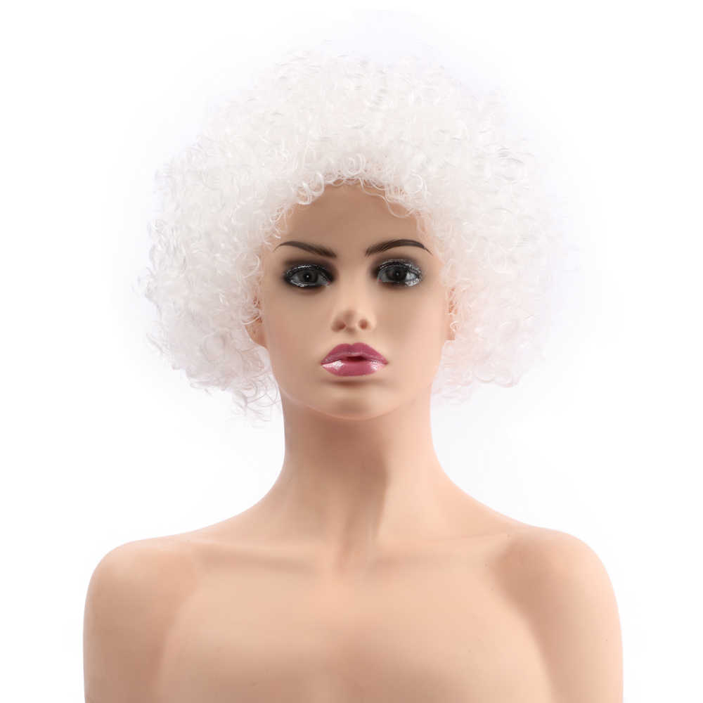 "Gratis Beauty 12 ""Korte Witte Synthetische Retro Hippie 70s 80s Disco Pluizige Fancy Grappige Clown Afro Pruik voor Party Kerstmis Halloween"