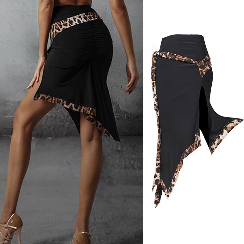 New Latin Dance Skirt Sexy Leopard Print Skirt Professional Latin Dance Practice Clothes Women Cha Cha Rumba Samba Dress SL2904