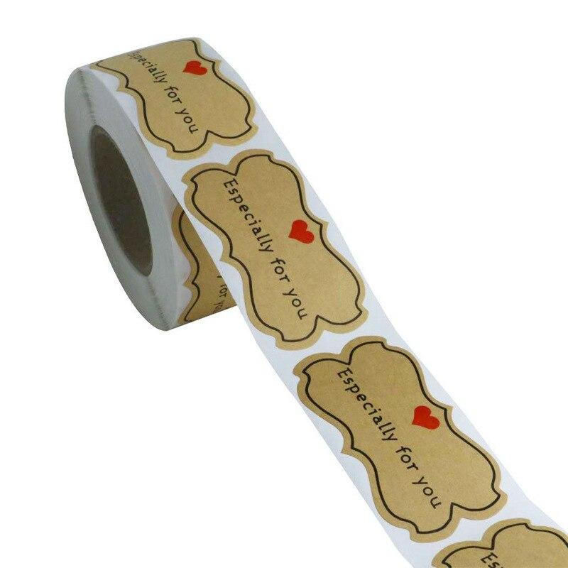 """500 pçs kraft papel adesivos """"especialmente para você"""" selo etiquetas diy presente de embalagem de presente de férias adesivos bonito adesivo papelaria"""