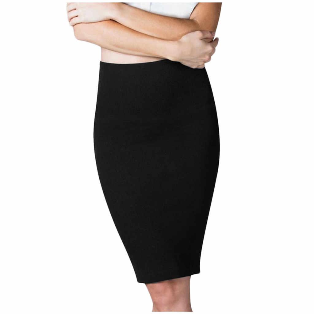 2020 neue röcke für frauen Sexy Fashion Solid Nahtlose Hohe Taille Stretch Mid-länge Rock юбка женская auf lager heißer verkauf # guahao