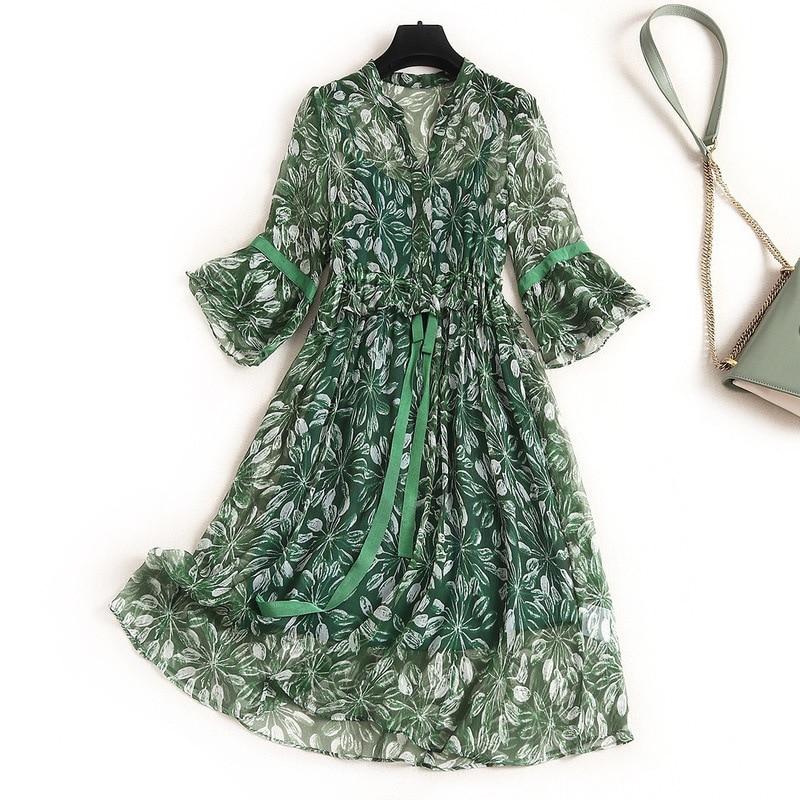 100% Natural Silk Dress Prairie Chic  A-Line  Print 3/4 Sleeve Knee-Length  Flare Sleeve  V-Neck 2020  Summer Green Dresses