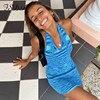 FSDA 2021 V Neck Knitted Dress Bodycon Blue Women Halter Neck Backless Bandage Summer Beach Sleeveless Sexy Mini Dresses Y2K 2