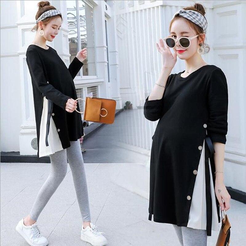 Bandage Maternity Shirts Autumn Korean Fashion Loose Clothes For Pregnant Women Fall Pregnancy Tops Tunic