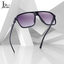 JZU Brand retro Steampunk frame Square male Sunglasses Men All Black oversized big fashion sunglasse