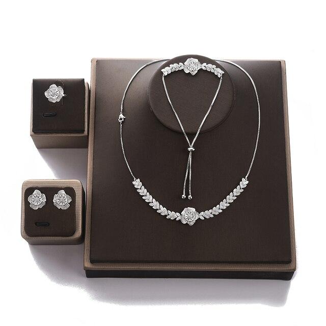 Conjunto de joyería con diseño de flor para mujer, collar, pendientes, pulsera y anillo, fiesta, circonio de boda, CN1026