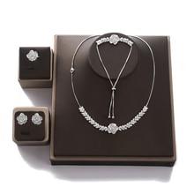 Jewelry Set HADIYANA Women Party Wedding Zircon Flower Design Necklace Earrings Bracelet And Ring Set CN1026 Conjunto de joyas