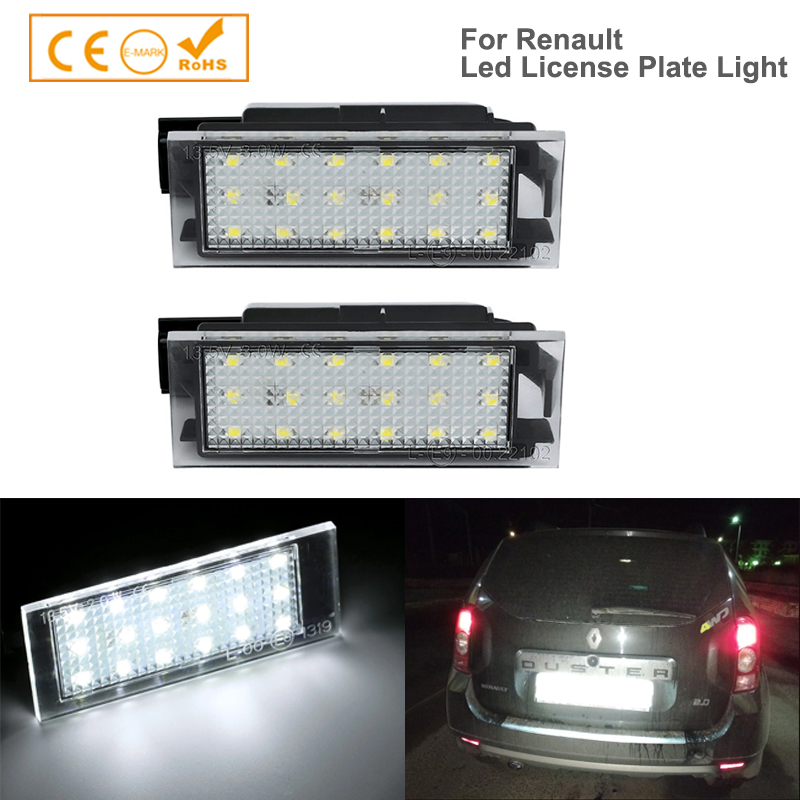 2pcs Car-Styling <font><b>LED</b></font> License Plate Lights For <font><b>Renault</b></font> <font><b>Megane</b></font> <font><b>2</b></font> Clio Laguna <font><b>2</b></font> <font><b>Megane</b></font> 3 Twingo Master Vel Satis Opel Movano <font><b>Lamps</b></font> image