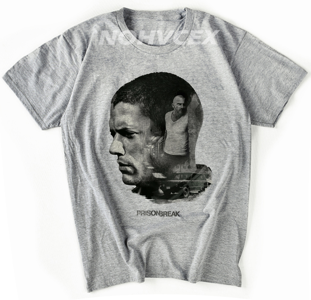 Prison Break T Shirts For Men  Funny T-Shirts  Tee Shirt Short Sleeve Clothes Printed