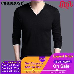 Image 1 - COODRONY Mens Sweaters 2019 Spring Autumn Cashmere Cotton Sweater Men Knitwear Shirt Pull Homme Casual V Neck Pullover Men 91012