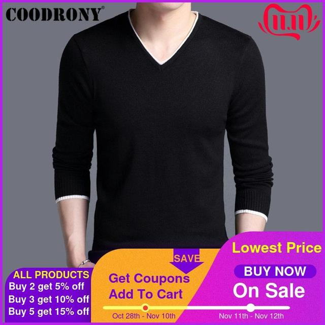 COODRONY Mens Sweaters 2019 Spring Autumn Cashmere Cotton Sweater Men Knitwear Shirt Pull Homme Casual V Neck Pullover Men 91012