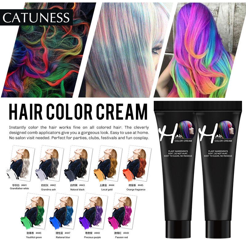 Catuness Permanent Super Hair Dye Wax Hair Color Cream Non-toxic DIY Hair Styling Coloring Molding Paste Red Blue Gray image