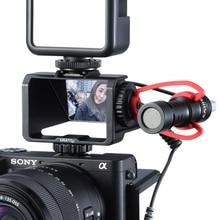 UURig soporte de pantalla abatible para cámara con tres soportes de zapata fría para micrófono, luz LED de vídeo