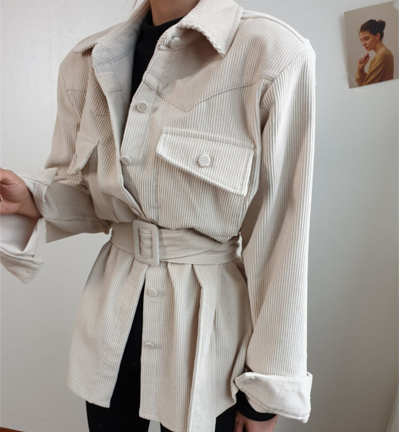 New 2020 Spring Winter Elegant Women Blazers Single Breasted Solid Corduroy Jackets Female Office Lady Coat Sashes Tops Outwear