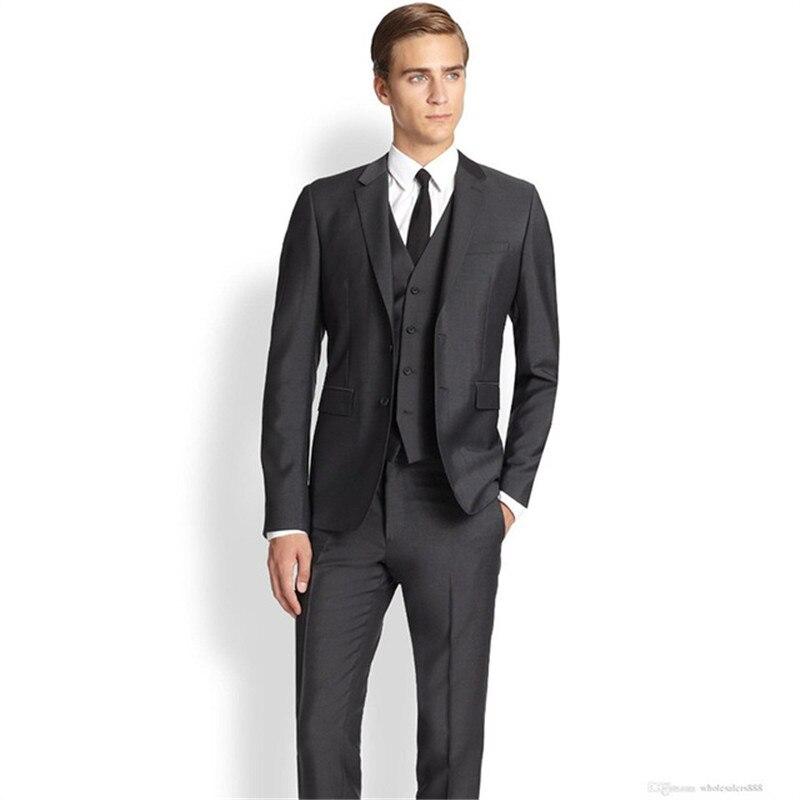 Deux boutons Gap revers personnalisé marié hommes Costume 3 pièces (veste + pantalon + gilet + cravate) mode Costume Homme Homme mariage costumes formels