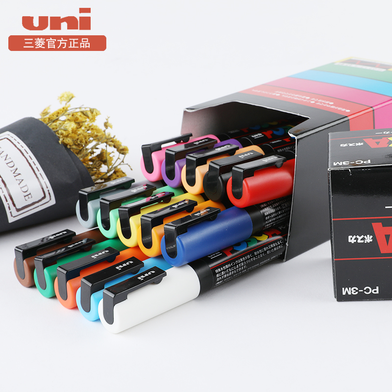 2Pcs Uni Mitsubishi Posca PC-3M Paint Marker Writing Pen Fine Tip 0.9-1.3mm 24 Colors For Choose Office And School Supplies