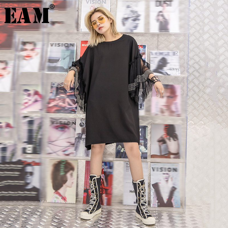 [EAM] Women Black Nailed Mesh Big Size Dress New Round Neck Three-quarter Sleeve Loose Fit Fashion Spring Summer 2020 1T086