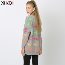 XIKOI Oversized Sweater Women Casual Paris Letter Print Pullovers Slim Warm Dress Pull Computer Knitted Clothes Korea Style New new paris style