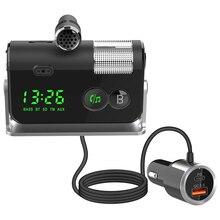 רכב FM משדר Bluetooth QC3.0 USB מטען לרכב AUX דיבורית בס מגבר אלחוטי לרכב FM רדיו מודולטור MP3 נגן
