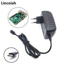 Lincoiah fonte de alimentação carregador ac/dc adaptador 5 v 3a psu usb tipo c 5 v volt 3000ma para raspberry pi 4 modelo b 1gb 2gb 4gb kit