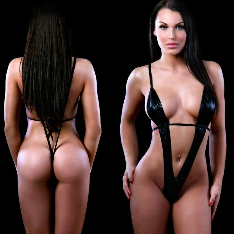 USA Womens Lingerie Exotic Micro One Piece Bikini G-string Thong Slingshot Black