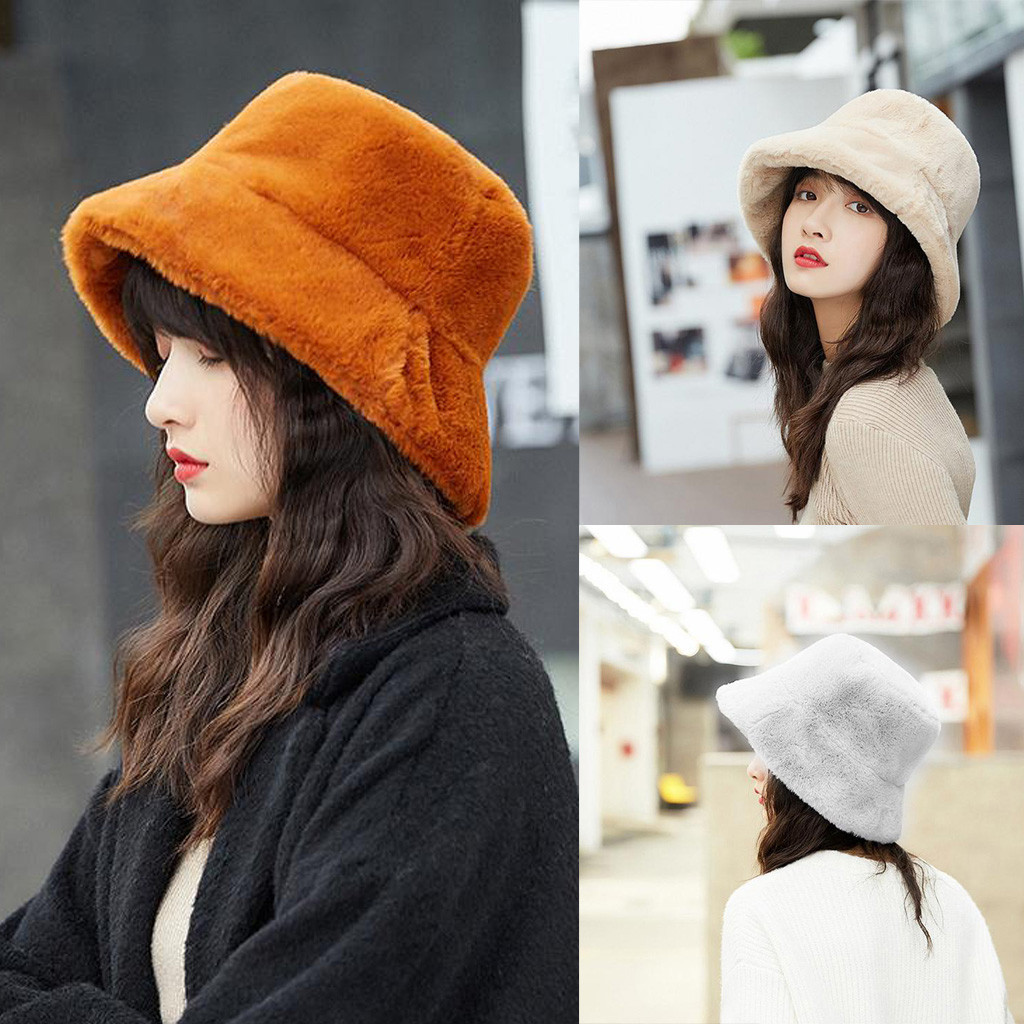 Fashion Faux Fur Winter Bucket Hat For Women Girl Solid Thickened Soft Warm Fishing Cap Outdoor Vacation Hat Cap Lady Panama#30