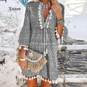 Vintage Women Floral Print A-Line Party Dress Autumn gray V Neck Lace Up Tassel Mini Dress Elegant Long Sleeve Ladies Dresses delocah new women autumn dress runway fashion 3 4 sleeve floral printed beading back zipper elegant vintage party mini dresses