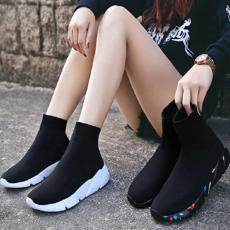 Sneakers For Women Vulcanized Shoes Female Socks Shoes Trainers Women Slip on Stretch Platform Shoes Black Sneaker 2019