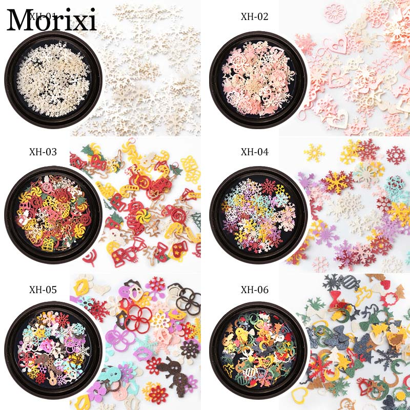 Christmas snow flakes for nail art decoration rainbow color mixed shape christmas tree snow man nail sticker MZ066