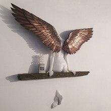 Anjo arte escultura decoração da parede 3d estátua para sala de estar decoração do quarto casa jardim estátua arte anjo asas
