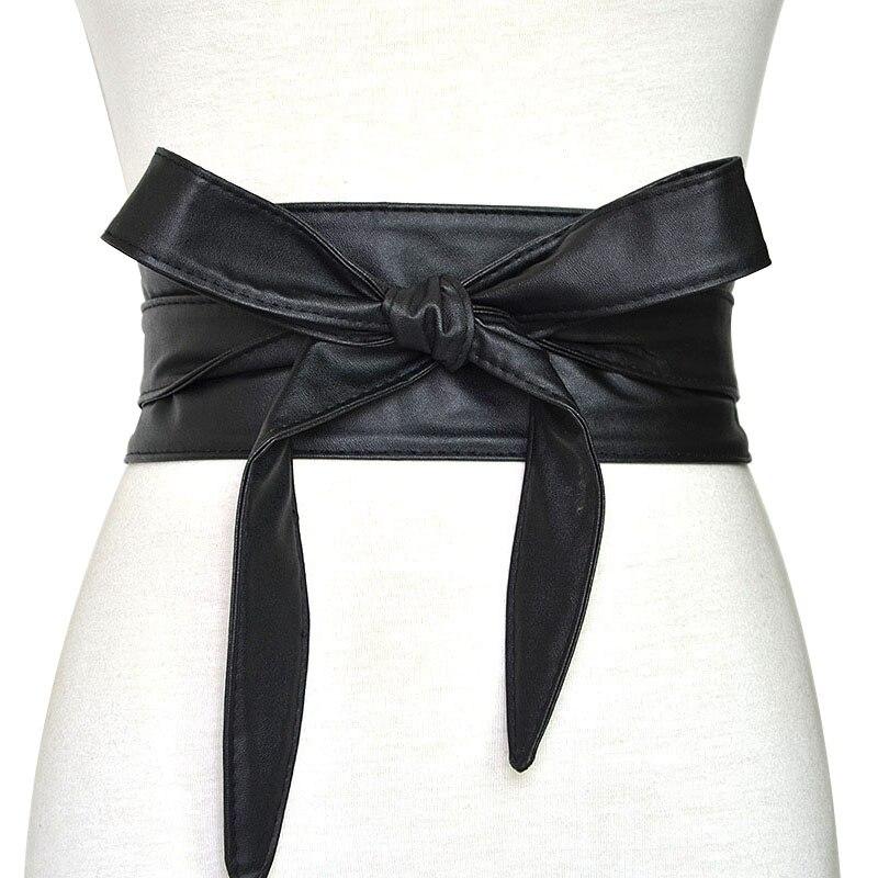 Fashion Pu Leather Obi Corset Belts For Ladies Black Yellow Red Wide High Waistband Bowknot Women Dress Waist Belt Cummerbunds