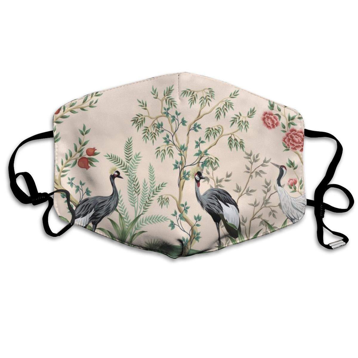 Mouth Mask Vintage Crane Bird Floral Tree Fashion Earloop Face Mask For Kids Teens Men Women Winter Summer