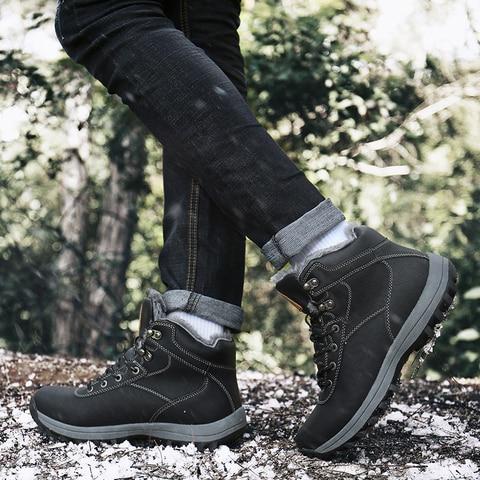 Winter Men Shoes Outdoor Snow Boots Men Warm Plush Cotton Shoes Fur Safety Shoes Combat Military Boots Flat Ankle Botas Hombre Multan