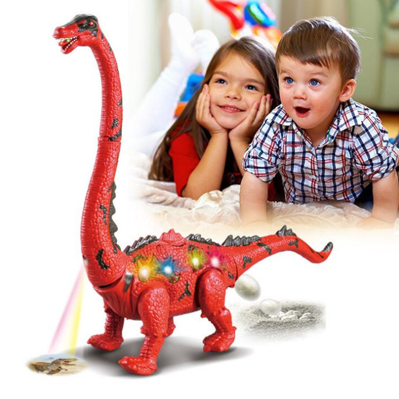 Children Toys Electric Walking Dinosaur Toy Long Neck Lay Eggs Projection Lights Roar Sounds Kids Christmas Birthday Gifts
