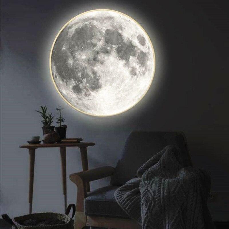 Modern Makeup Mirror with Light Moon Wall Lamp Living Room Hallway Corridor Porch Decorative Mirror Wall Light Creative Gift