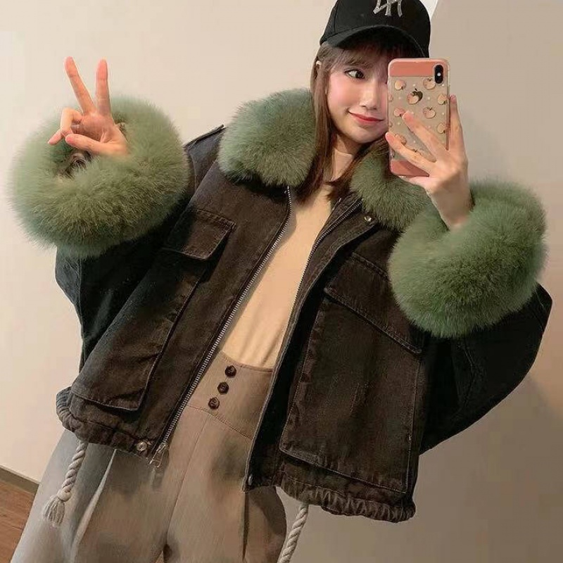 Fashion Korean Thicken Women Jeans Jacket Winter 2020 Long Sleeve Big Fur Collar Warm Ladies Denim Coats Outerwear