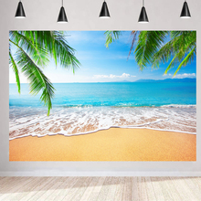 Beach Backdrop Luau Birthday Party Palm Sea Cloud Decoration Wedding Photography Backgrounds Photocall Banner