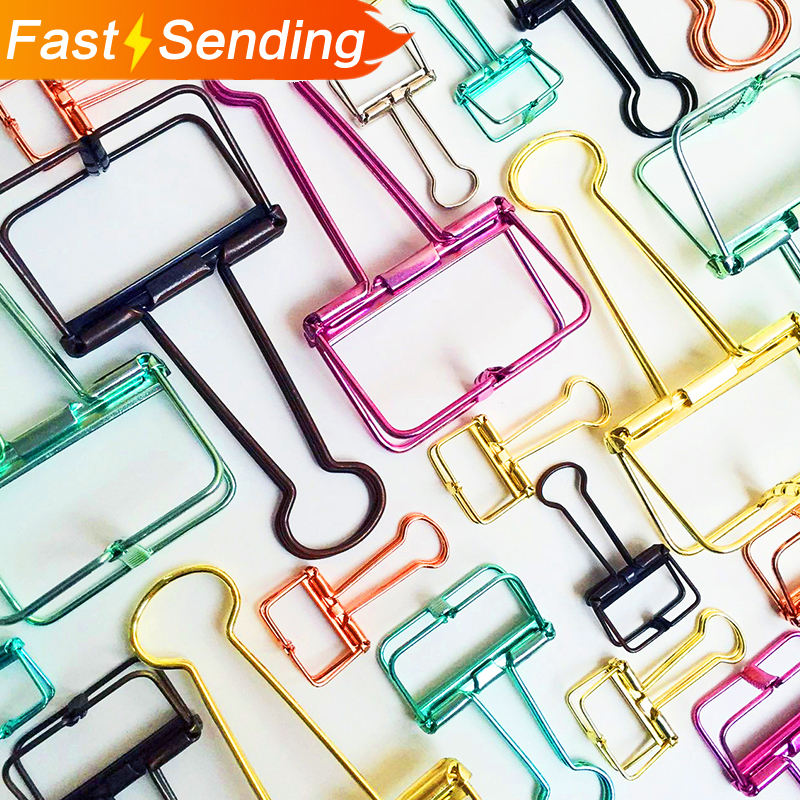 JIANWU Metal Long Tail Clips  Gold Paper Clips Color Clips Mini Clips Multifunctional Metal Bookmark