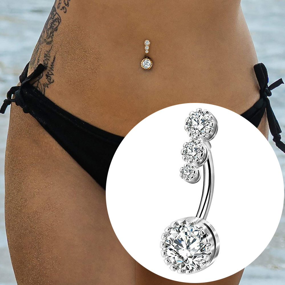 Crystal Navel Ring Bar Barbell Drop Dangle Body Piercing Surgical Nombril Ombligo Belly Button Rings Men Women Body Jewelry